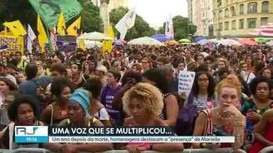 Dia de homenagens e manifestações em memória de Marielle Franco e Anderson Gomes - Um ano depois do assassinato, admiradores da vereadora, ativista dos direitos humanos, se reúnem em diversos pontos para lembrar da luta por respeito e cobrar justiça.