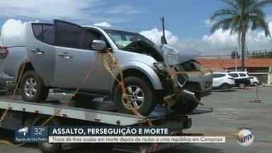 Suspeito morre após perseguição policial em Campinas - Criminosos assaltaram uma república no bairro Castelo, na manhã desta sexta-feira (15). Após perseguição policial, o carro onde estavam os suspeitos bateu em um poste. Um dos ocupantes morreu e outro foi encaminhado ao Hospital Mario Gatti