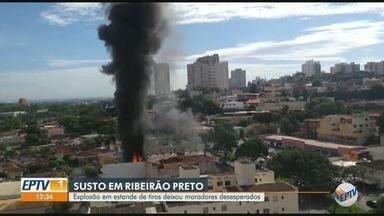 Explosão em estande de tiros assusta moradores em Ribeirão Preto - Explosão ocorreu após um incêndio atingir o estante de tiros na manhã desta sexta-feira (15).