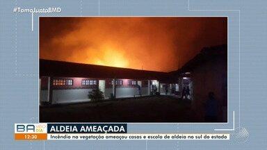 Incêndio em vegetação atinge aldeia no sul do estado - Os próprios moradores da aldeia apagaram o fogo.