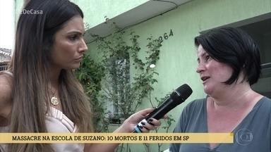 Patrícia Poeta conversa com vizinhos que abrigaram alunos em fuga da escola Raul Brasil - Vizinhos da escola ajudaram crianças e adolescentes que correram durante o massacre em Suzano