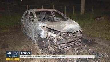 Carro clonado é destruído por incêndio na BR-040, em Nova Lima - Veículo foi encontrado embaixo do viaduto que fica perto do posto da Polícia Rodoviária Federal. Ele ficou completamente queimado e foi recolhido ao próprio posto da PRF.