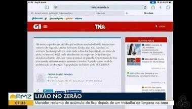 Tô na Rede: morador reclama do acúmulo do lixo depois de um trabalho de limpeza na área - Reclamação foi registrada pelo aplicativo da Rede Amazônica.