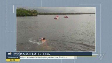 Polícia Ambiental resgata quatro pessoas encalhadas no Canal de Bertioga - As vítimas e as embarcações foram retirados do canal pelos agentes.