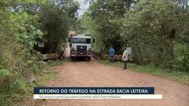 Retorno do tráfego na estrada bacia leiteira - Rio recuou e ponte que estava submersa volta a ficar trafegável