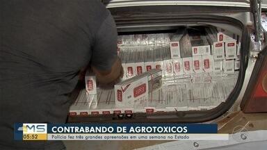Em uma semana, polícia faz três grandes apreensões de agrotóxicos em MS - As polícias Militar Rodoviária e Rodoviária Federal registraram um aumento significativo nas apreensões de agrotóxicos nas estradas que cortam Mato Grosso do Sul. Só na semana passada, foram três grandes apreensões de defensivos agrícolas.