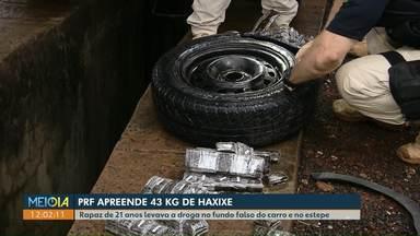 43 kg de haxixe são encontrados escondidos em fundo falso e estepe de carro - Apreensão foi na BR-277, em Foz do Iguaçu. Motorista foi preso.