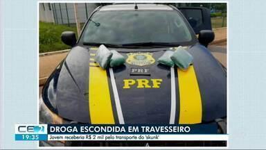 Jovem é presa com droga escondida no travesseiro - Ela viajava de ônibus para Natal, no Rio Grande do Norte