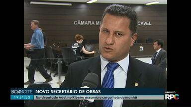 Adelino Ribeiro assume secretaria de Obras de Cascavel - Ex-deputado afirma que vai priorizar melhorias no asfalto e iluminação pública.
