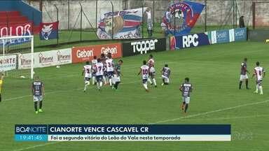 Cianorte vence o Cascavel CR no Albino Turbay - Próximo jogo é na quinta-feira contra o Paraná Clube na Capital.