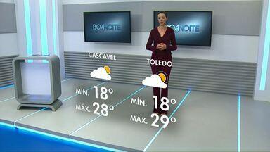 Tempo deve ficar nublado nesta terça-feira - Não há previsão de chuva para a região de Cascavel.