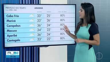 Confira a previsão do tempo para esta terça-feira (19) no interior do Rio - Assista a seguir.