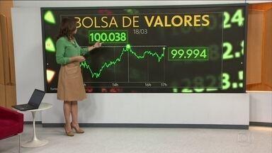 Principal índice da Bolsa de Valores de SP ultrapassa a marca dos 100 mil pontos - O Ibovespa ultrapassou a marca dos 100 mil pontos em alguns momentos do pregão na tarde de segunda-feira (18). No pico, chegou a 100.038 pontos, mas depois desacelerou um pouco. Miriam Leitão comenta o desempenho da Bolsa de Valores.