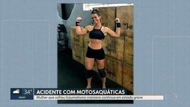 Mulher ferida na cabeça em acidente com motoaquática continua internada em estado grave - Kezia Carvalho, de 30 anos, sofreu traumatismo craniano e está internada no hospital Miguel Couto, na Gávea.