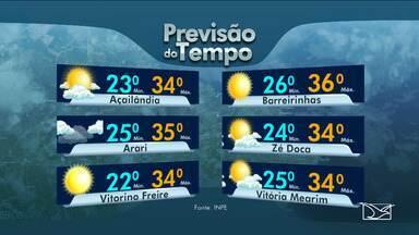 Veja as variações das temperaturas no Maranhão - Confira a previsão do tempo nesta quarta-feira (20) em São Luís e também no interior do estado.