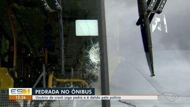 Usuário de droga joga pedra em ônibus e é detido pela polícia, em Vitória - O motorista ficou ferido por estilhaços do para-brisas.