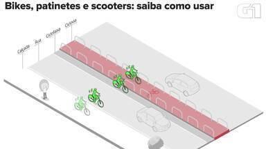 Patinetes, bikes e scooters; saiba como usar - Serviços de compartilhamento estão fazendo bicicletas, patinetes e até mesmo scooter se espalharem pelo Brasil. Cada um deles possui uma regra de uso.