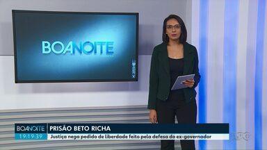 Justiça nega pedido de liberdade feito pela defesa do ex-governador Beto Richa - Ele foi preso pela terceira vez na terça-feira (19).