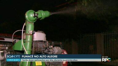 Fumacê tenta conter a dengue na região do bairro Alto Alegre em Cascavel - O trabalho na região deve durar quarenta dias. 47 casos de dengue foram confirmados por lá.
