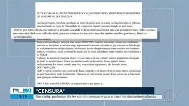 Professor afastado após polêmica com charge de presidente envia carta ao sec. de Educação - Assista a seguir.