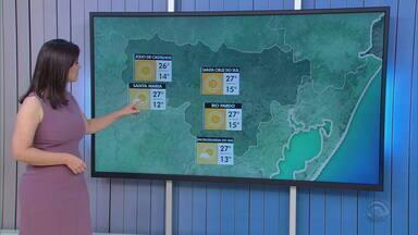 Domingo (24) amanhece ensolarado e chega aos 30 °C no RS - Assista ao vídeo.