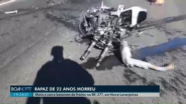 Motociclista de Cascavel morre em acidente na BR-277, em Nova Laranjeiras - Jovem de 22 anos morreu na hora.