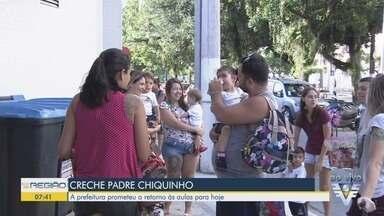Prefeitura de Santos promete retorno às aulas em creche - Unidade de ensino apresentou problemas um ano após inauguração.