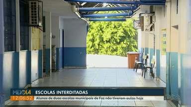 Escolas municipais são interditadas e alunos começam a semana sem aulas - Justiça Federal determinou a interdição por causa de riscos estruturais nas duas escolas municipais de Foz do Iguaçu.
