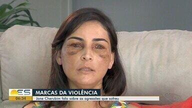 Jane Cherubim fala sobre as agressões que sofreu em Dores do Rio Preto, ES - Exame de DNA que vai descobrir se corpo encontrado era mesmo de Jonas Amaral sai em 30 dias.