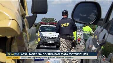 Assaltante que fugia da polícia causa acidente e mata uma pessoa - O motociclista de 46 anos morreu com a batida.