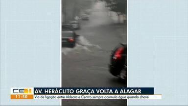 Avenida Heráclito Graça mais uma vez alagada - Outras informaçoes no g1.com.br/ce