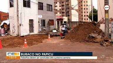 Conclusão das obras no buraco aberto no Papicu até a próxima semana - Outras informações no g1.com.br/ce