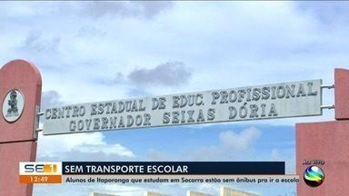 Alunos de Itaporanga que estudam em Socorro estão sem ônibus pra ir a escola - A repórter Kedma Ferr tem mais informações.
