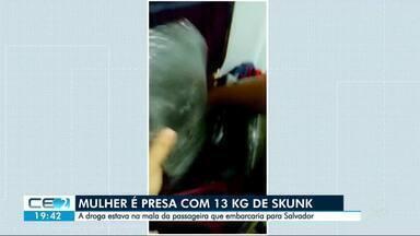 Mulher é presa no aeroporto com 13kg de skunk, em Fortaleza - Ela viajava de Manaus para Salvador