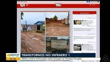 Tô na Rede: Relato mostra reclamação sobre lamaçal na Travessa Douglas, em Macapá - Usuário registra os transtornos no bairro Infraero 1 por causa dos restos de um entulho jogados na via.