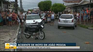 Homem morre após acidente entre carro e moto, em João Pessoa - Um servente de pedreiro, de 26 anos, pilotava a moto. O BPTran vai investigar as causas do acidente.