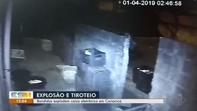 Criminosos explodem caixa eletrônico em Cariacica, ES - Caixa eletrônico fica ao lado de um supermercado no bairro Campo Verde. Crime aconteceu por volta das 2h desta segunda-feira (1).