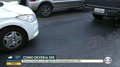BDSP mostra exemplo de bom funcionamento de serviço da Prefeitura - Buraco é tapado um dia depois de reclamação de telespectador para o 156