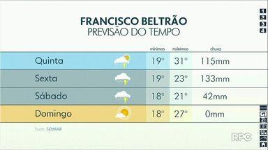 Tempo será de muita chuva na região - Veja a previsão no mapa.
