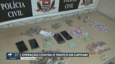 Cinco são presos e dois menores apreendidos em operação contra o tráfico, em Capivari - Investigação da Delegacia de Investigações Sobre Entorpecentes (Dise) realizou as prisões nesta sexta-feira (5).