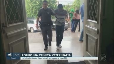 Três são presos por assalto a clínica veterinária em Ribeirão Preto, SP - Suspeitos tentaram escapar por telhados no bairro Campos Elíseos.