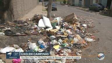 Descarte irregular de lixo ao lado de centro de saúde incomoda moradores, em Campinas - Telespectadora relata que problema começou há pelo menos dois meses.