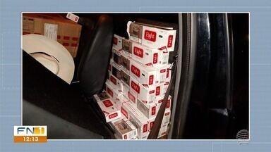 Polícia Militar Rodoviária apreende carga de cigarros contrabandeados - Motorista conseguiu fugir da abordagem da fiscalização em rodovia em Taciba.