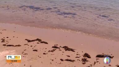 Limpeza continua nas praias onde óleo apareceu; autoridades investigam contaminação - Manchas apareceram na quarta-feira (3).