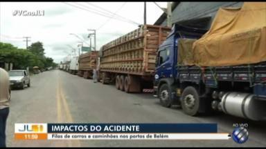 Sem Alça Viária, motoristas enfrentam filas em portos de Belém - Horas de espera marcam viagem pela única saída de Belém para o Nordeste do Estado: os rios.