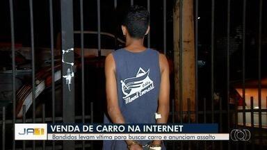 Jovem é preso suspeito de anunciar carro na internet para roubar dinheiro do comprador - Caso aconteceu em Goiânia. Vítima reagiu ao assalto e conseguiu atingir o jovem, que foi localizado no hospital ao buscar atendimento médico.