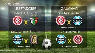 RBS TV transmite jogos da dupla Gre-Nal - RBS TV transmite o jogo do Grêmio na quarta-feira (10) e o Gre-Nal da quarta-feira (17).
