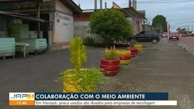 Cerca de 300 toneladas de pneus foram recolhidas só no ano passado - Em Macapá, pneus são doados para empresas de reciclagem.