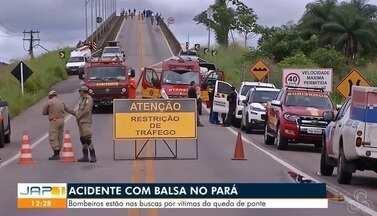 Foram retomadas hoje as buscas por possíveis desaparecidos com a queda da ponte - Bombeiros estão há procura por vítimas da terceira ponte da alça viária, sobre o rio Moju.