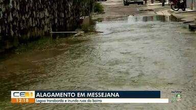 Lagoa transborda e alaga ruas de Messejana - Confira outras notícias no g1.com.br/ce